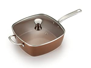 T-fal C41195 Saute Pan Square Pan with Lid, Ceramic Nonstick Jumbo Cooker Cookware, 6 Quart, Copper