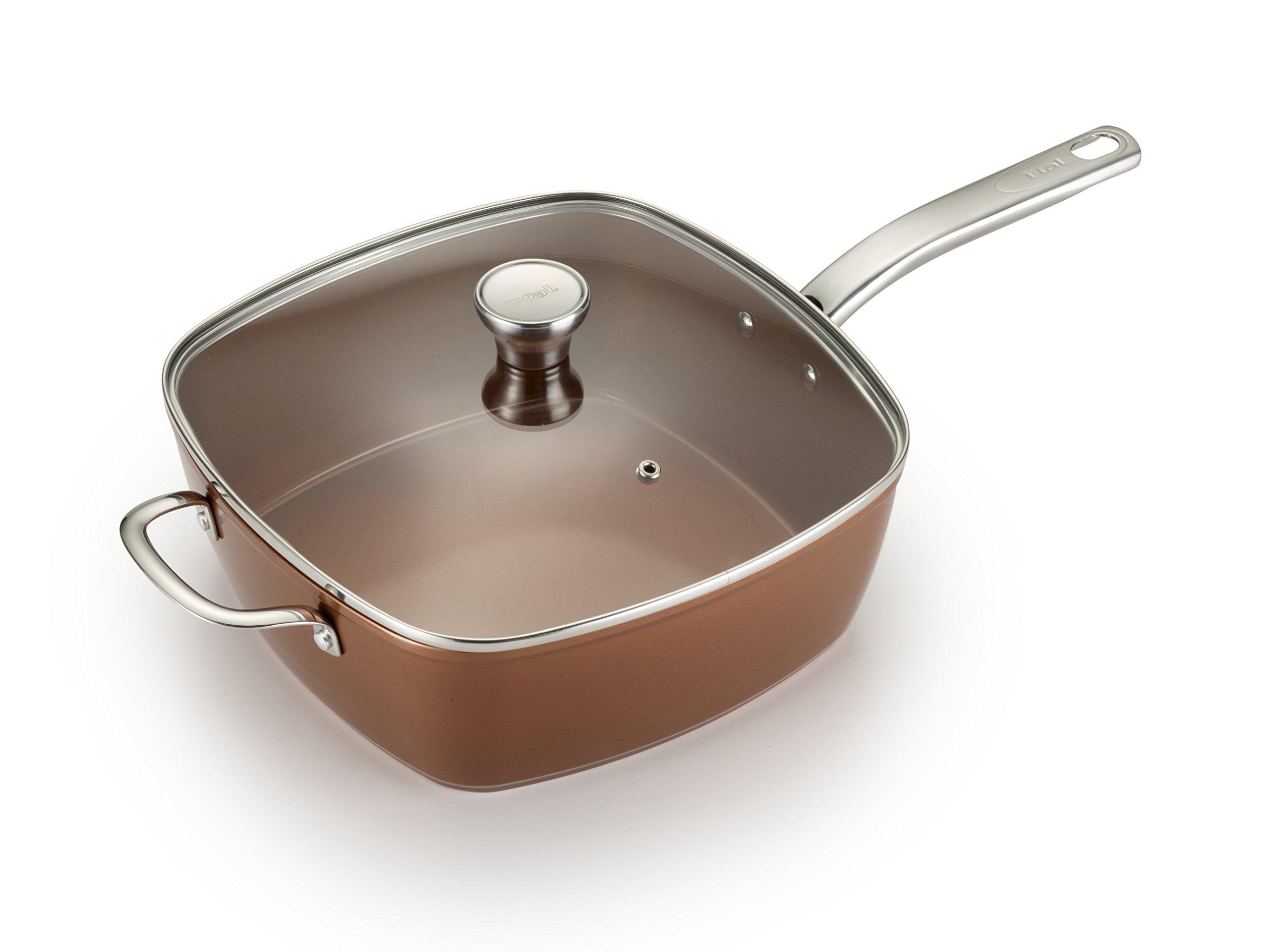 T-fal C4119564 Copper Ceramic Nonstick Dishwasher Safe Oven Safe Cookware Saute Pan Square Pan, 7-Quart, Copper