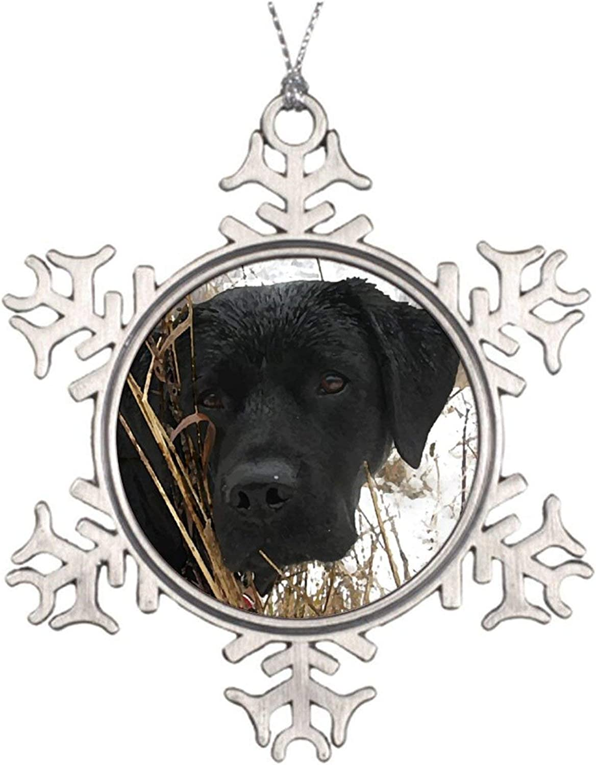Christmas Ornaments, Black Lab Cute Duck Dog Hunting Dog Labrador Pewter Ornament, Art Print Snowflake Ornament Tree Hanging Decor Gift,3 Inch
