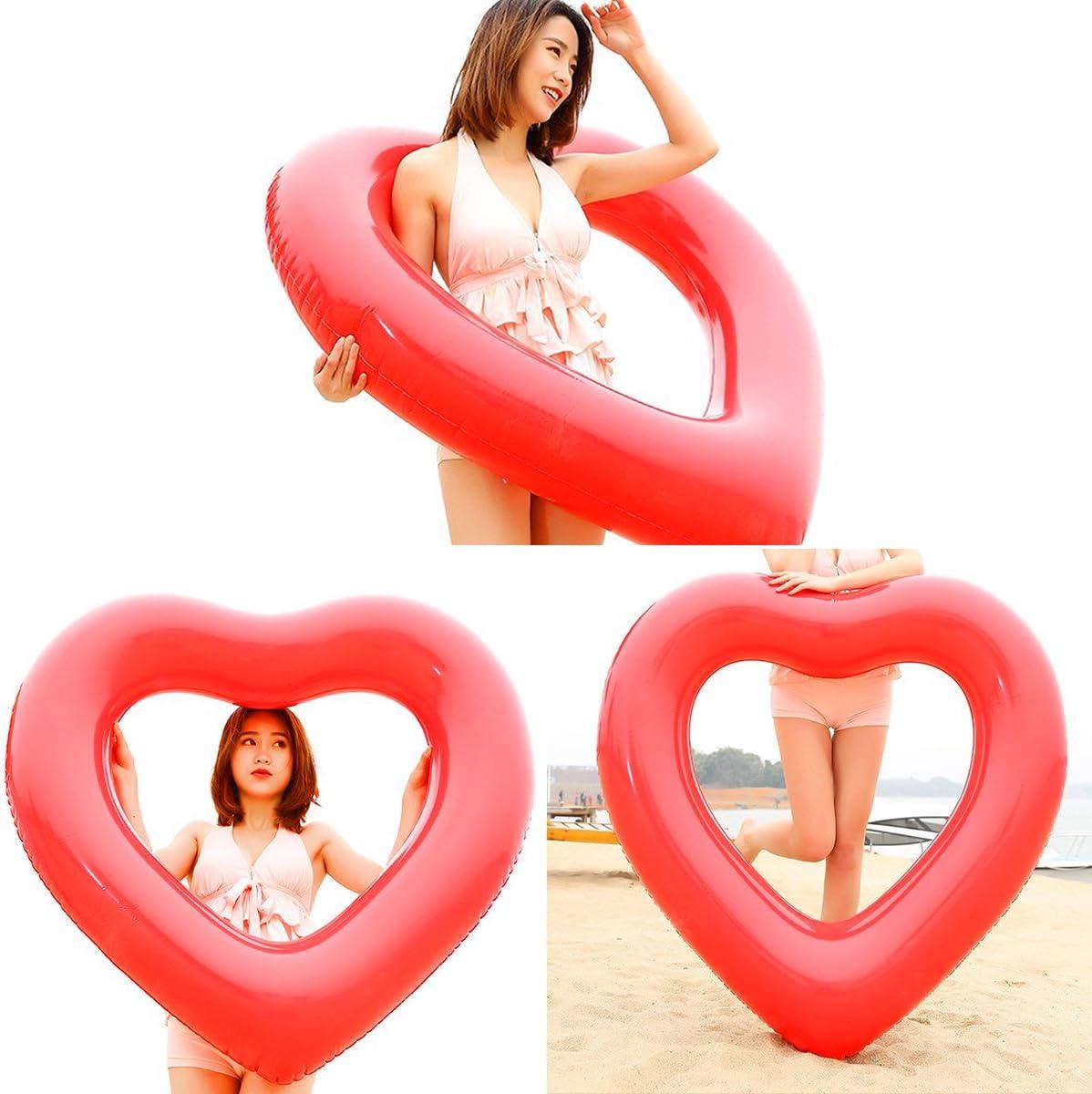 Naisidier Flotador Inflable en Forma de Amor Corazon tamaño Gigante para la Piscina o Playa,Labios Flotador Hinchable para la Piscina o la Playa