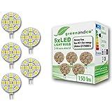 Pack of 5 greenandco® G4 LED Bulbs 2.4W / 150lm / 3000K (warm white) / 12 x 5050 SMD LED / 120° beam angle / 12V DC