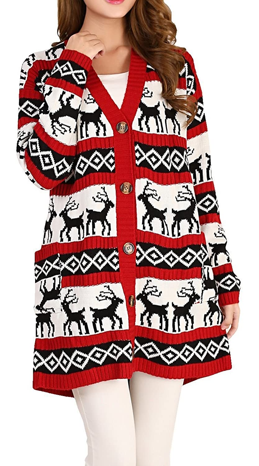 Amazon.com: Womens Oversized Christmas Reindeer Cardigan: Clothing