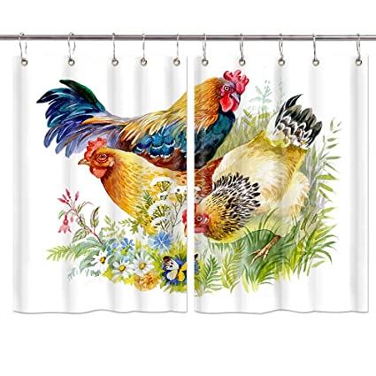 JAWO Farm Animal Kitchen Curtains, Chicken and Rooster in The Grass on  White Background Window Drapes 2 Panels Set for Kitchen Cafe Bathroom  Indoor ...