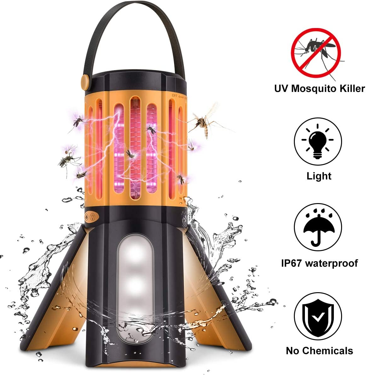 COKIT Bug Zapper LED Camping Lantern 2 in 1,Tripod Tent Light with Hook Portable Indoor Outdoor Mosquito Killer Fly Zappers Waterproof Compact UV Insect Trap Lamp