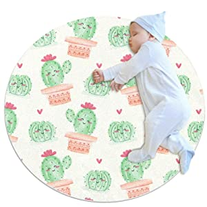Soft Round Area Rug for Bedroom Watercolor Cactus Circle Nursery Room Rug, Kids Room Carpet, Floor Mat for Living Room, Room Decor for Baby Girls Boys 31.5IN