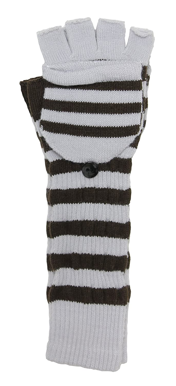 LL- Womens Warm Winter Arm Warmer Fingerless Long Gloves Fliptop Mittens Striped