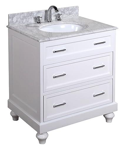 kitchen bath collection kbc1130wtcarr amelia bathroom vanity set