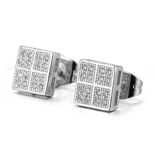 ba0d3576c67e MCSAYS - Pendientes de cuartos cuadrados de acero inoxidable con cristales  completos