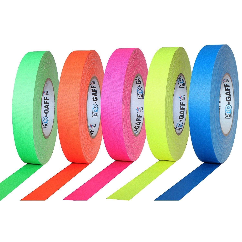 Pro Tapes ガッファーテープ 5セット 蛍光グリーン/蛍光ピンク/蛍光オレンジ/蛍光イエロー/蛍光ブルー 25mm x 45m カメラ テープ GAFFER TAPE FLUORESCENT B078K1ZX5W