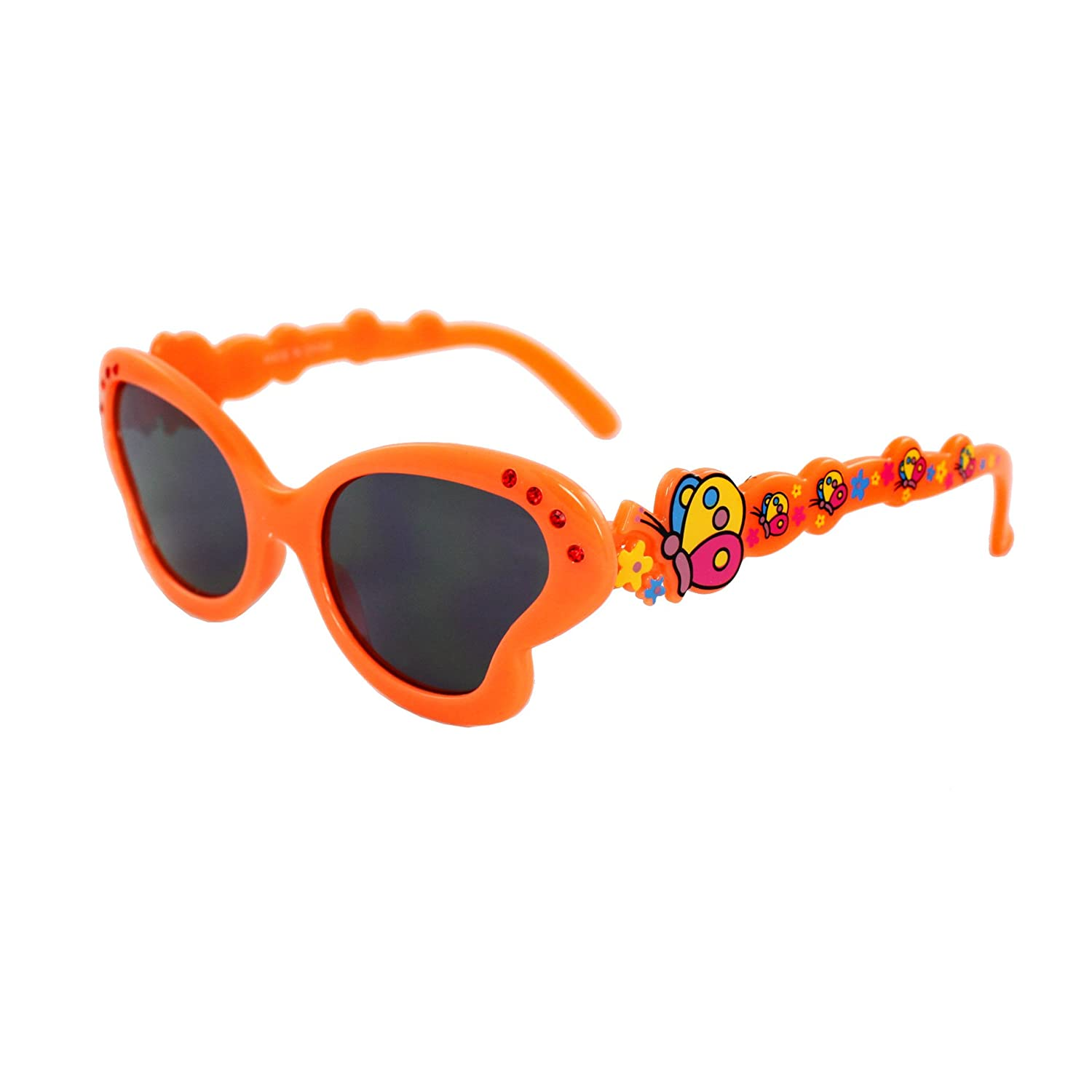 MLC Eyewear K0191-ORSM Kids Butterfly Sunglasses Orange Frame Smoke Lenses Design with Multicolor Butterfly Pattern.