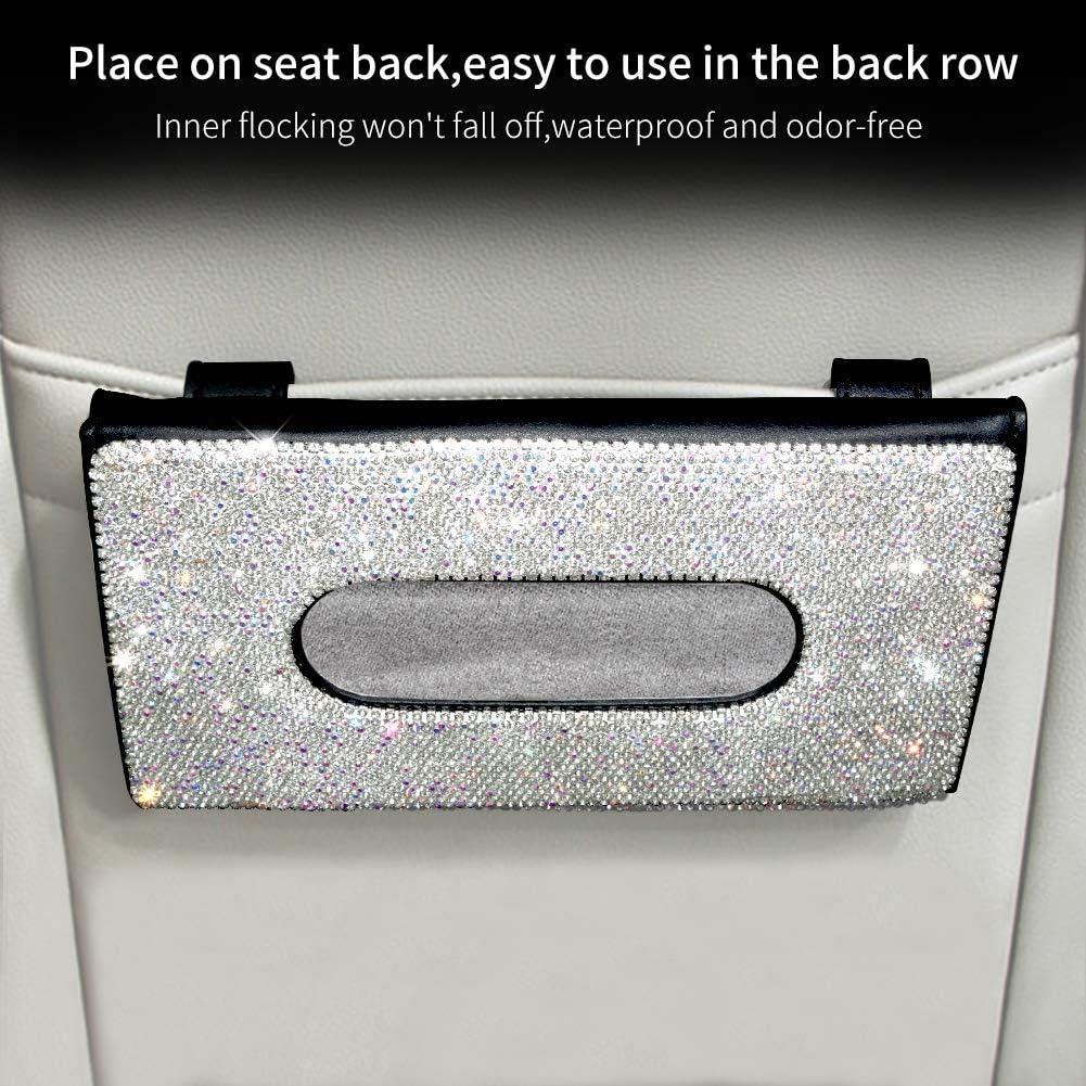 eing Fashion Crown Crystal Car Tissue Box Sun Visor Leather Auto Napkin Tissue Hanging Bag Holder for Car Accessories,Black