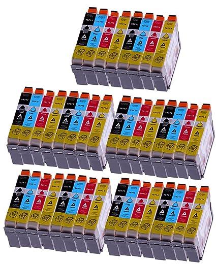 Merotoner - 40 cartuchos de tinta para Epson (T0715) T0711 T0712 ...