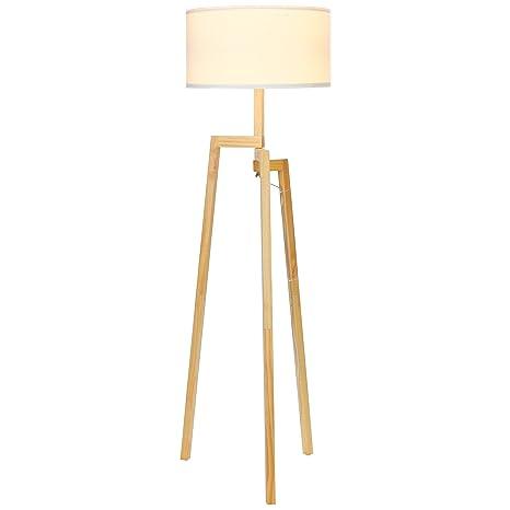 Brightech mia led tripod floor lamp modern design wood mid century style lighting for contemporary