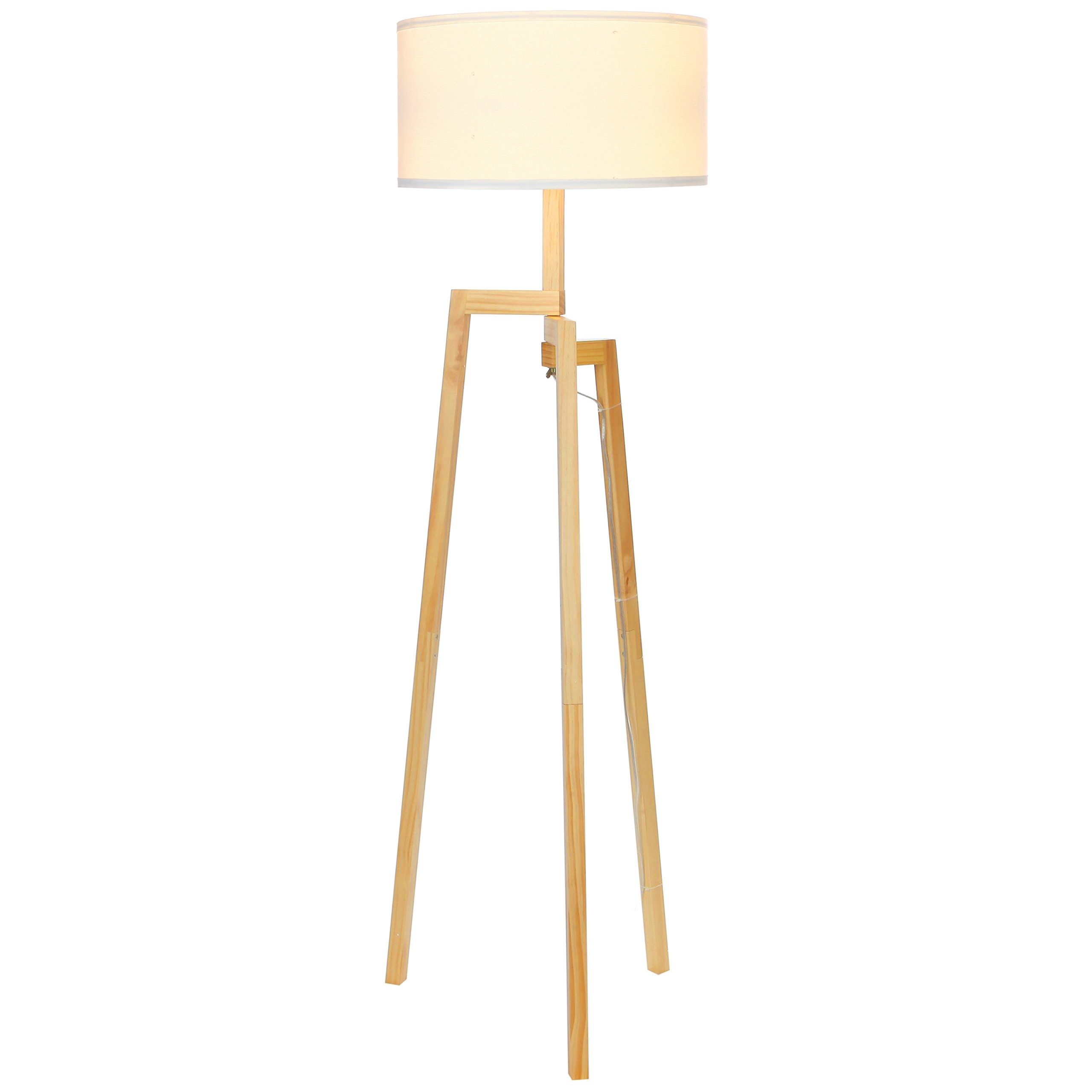 Brightech New Mia LED Tripod Floor Lamp– Modern Design Wood Mid Century Style Lighting for Contemporary Living or Family Rooms- Ambient Light Tall Standing Survey Lamp for Bedroom, Office- White Shade by Brightech (Image #2)