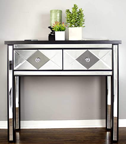 Amazon Com Homeroots 2 Drawer Mirrored Console Table Black