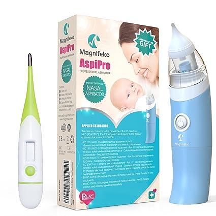Bebé aspirador nasal Nariz con ventosa mocos succión limpiador por magnifeko con termómetro digital