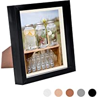 Nicola Spring 8 x 8 3D Shadow Box Photo Frame - Craft Display Picture Frame with 6 x 6 Mount - Glass Aperture - Black…