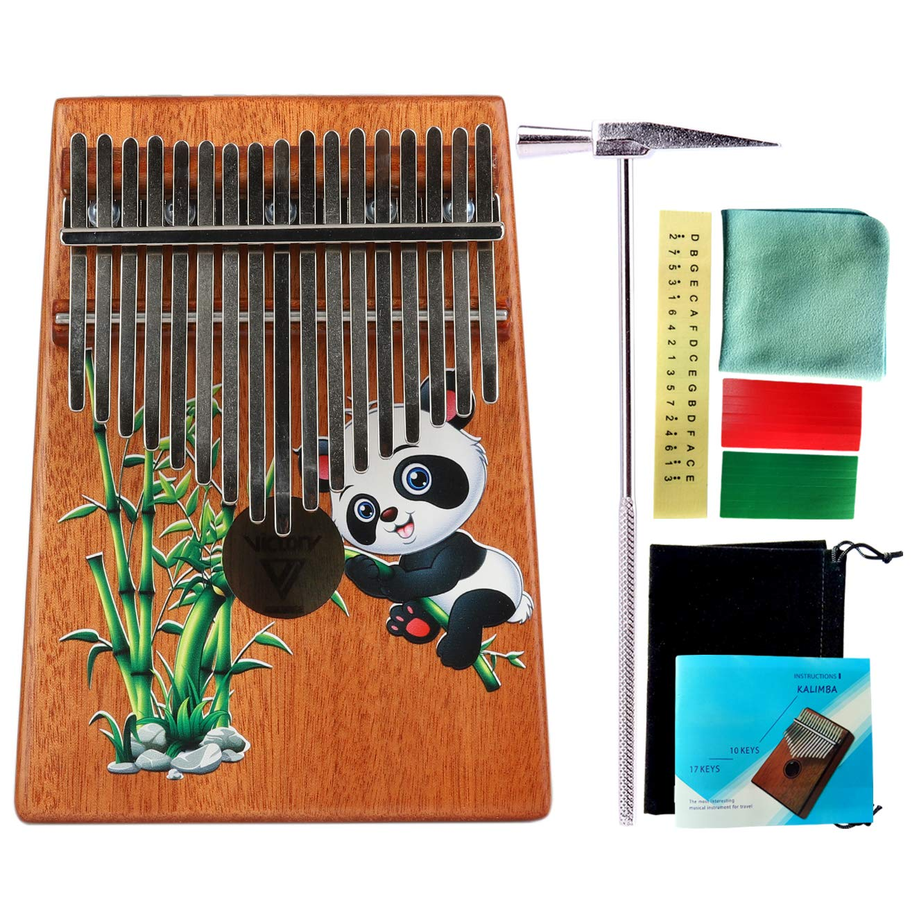 VI VICTORY 17 Key Colorful Kalimba African Thumb Piano Finger Percussion Keyboard Music Instruments - Panda by VI VICTORY
