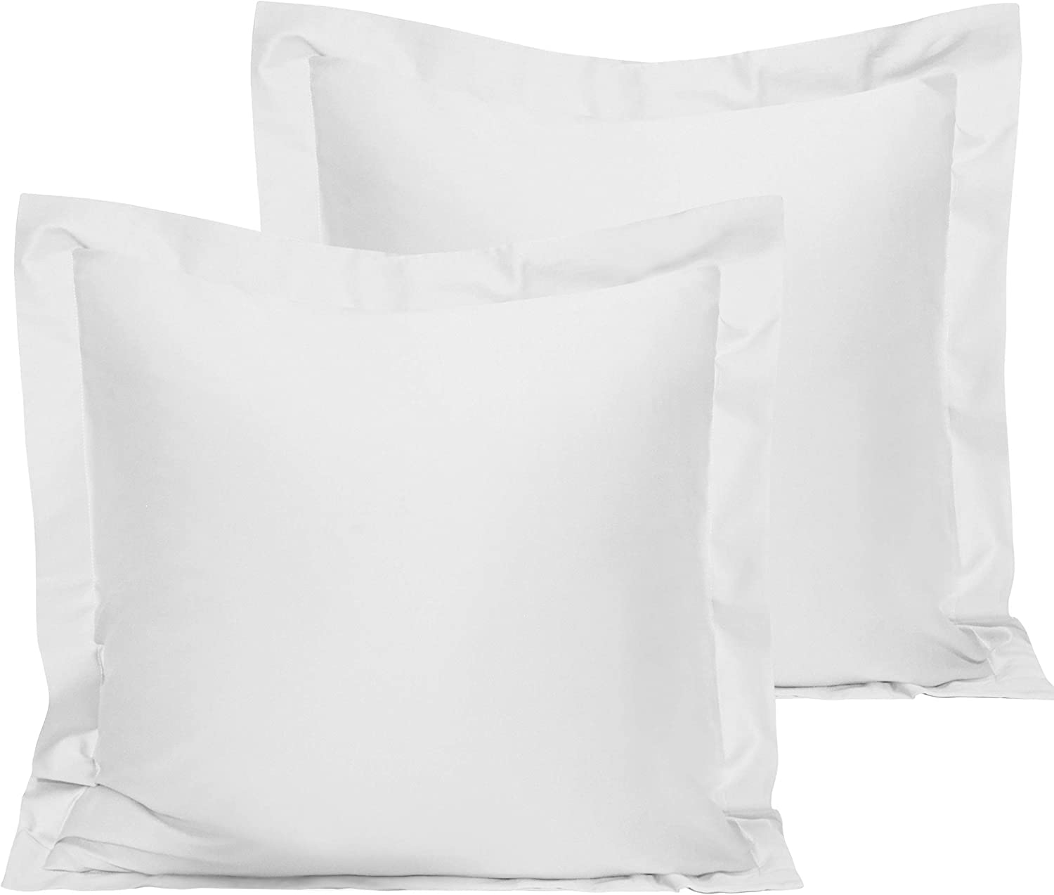 NTBAY 500 Thread Count 2 Pack Cotton Euro Bed Shams, Super Soft and Breathable Square Pillow Shams, 26 x 26 Inches, White