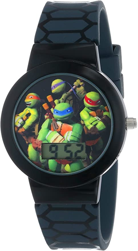 Ninja Turtles Kids Digital Watch with Black Bezel, Patterned Black Strap - Official TMNT Characters on The Dial, Light Weight, Safe for Children - ...