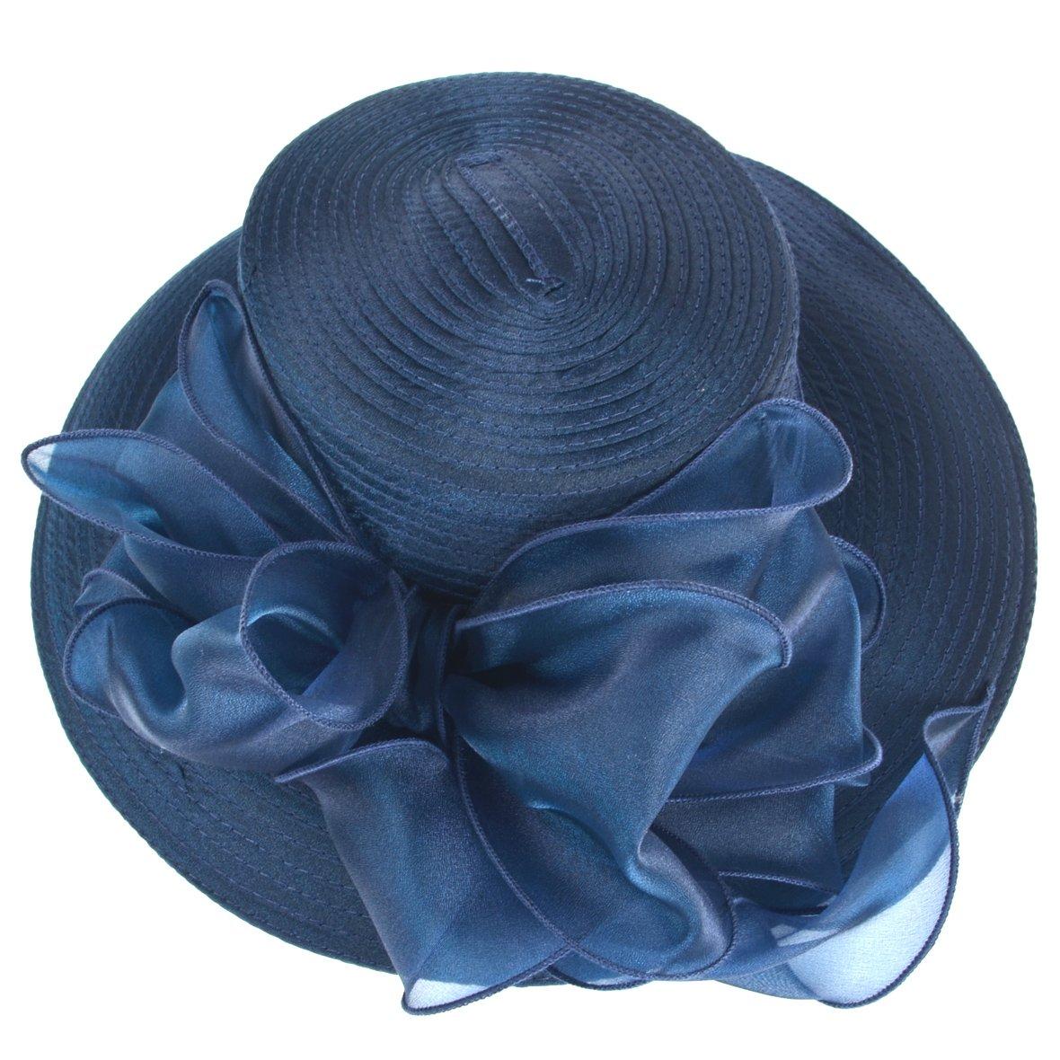 Women Kentucky Derby Church Dress Cloche Hat Fascinator Floral Tea Party Wedding Bucket Hat S052 (S062-Navy) by Ruphedy (Image #3)