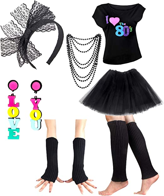 BLACK I LOVE THE 80s 1980s RETRO LONG DRESS PARTY HEN NIGHT FANCY DRESS COSTUME