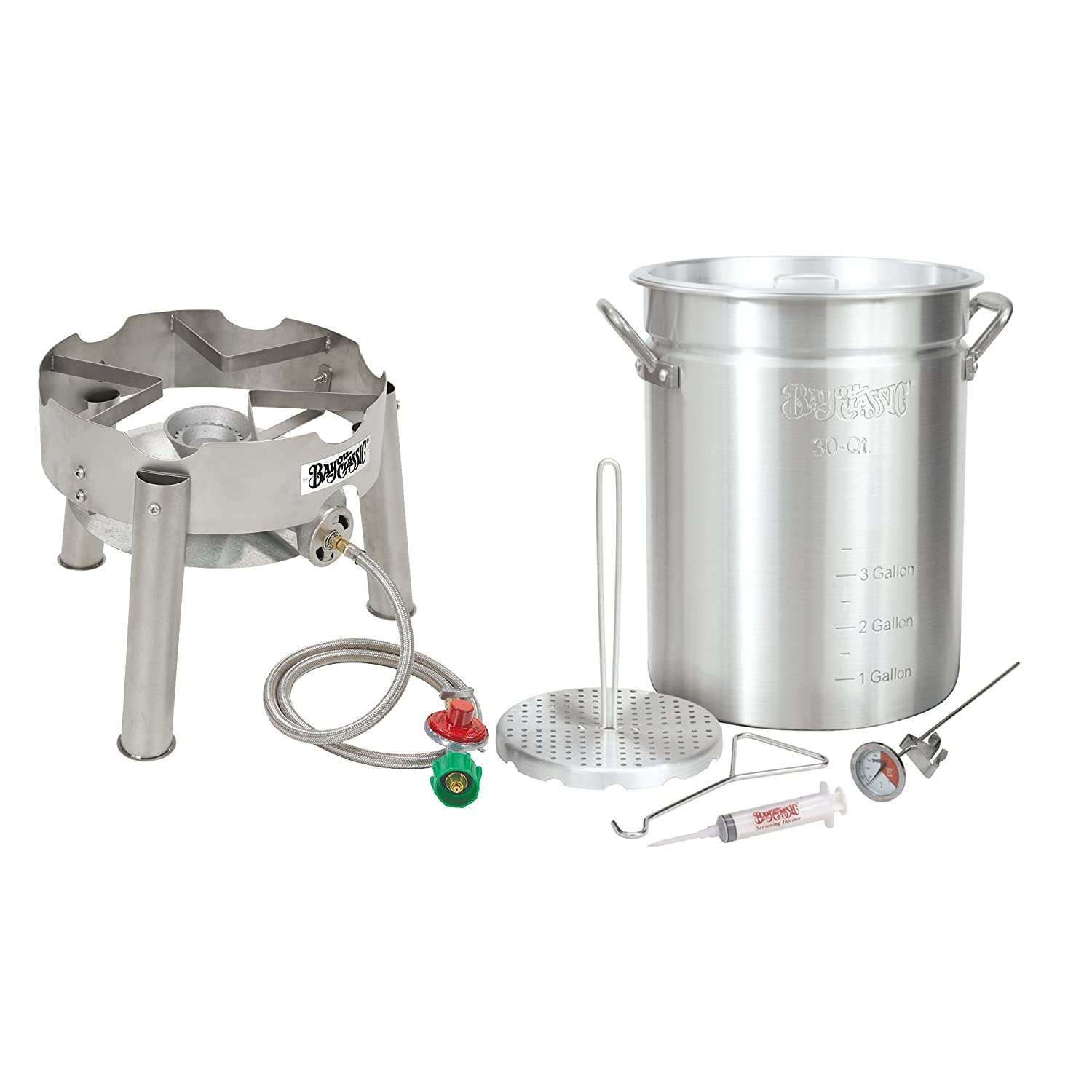 Bayou Classic Complete Deluxe Turkey Fryer Kit Aluminin Pot, Low Profile SS burner.