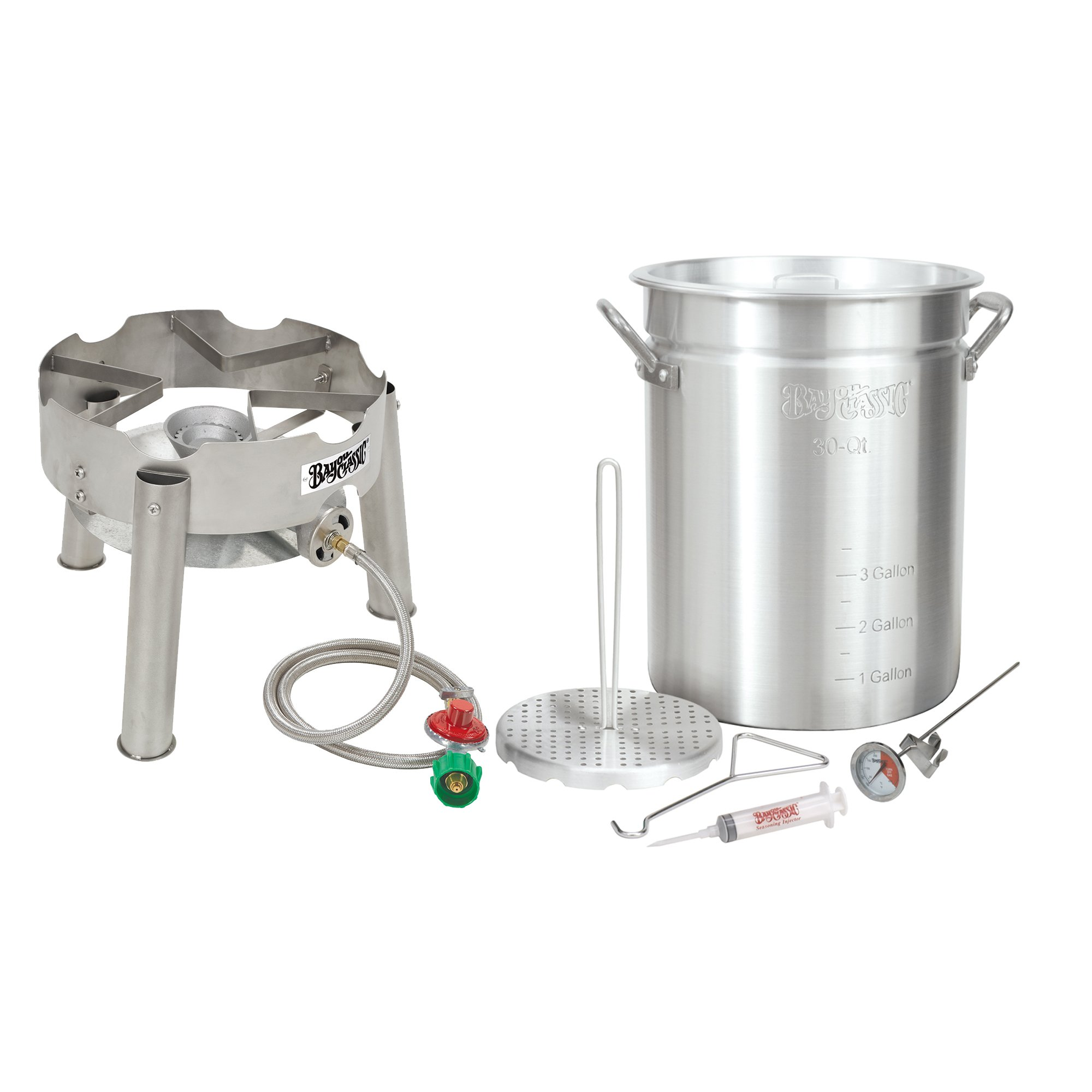 Bayou Classic Complete Deluxe Turkey Fryer Kit Aluminin Pot, Low Profile SS burner.