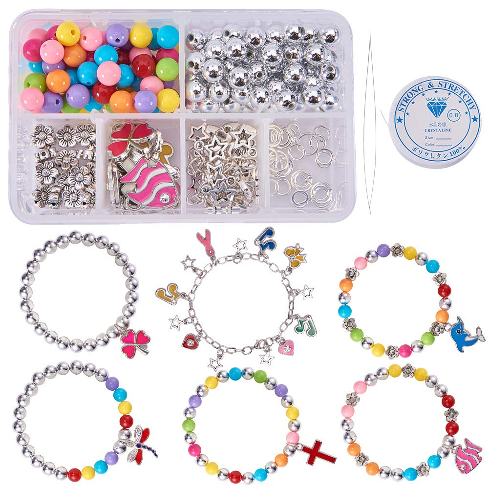 SUNNYCLUE 1 Set 240+ pcs Jewelry Making Kit Beaded Charm Bracelet DIY Craft Kits with Enamel Charm Pendants for Kids Teen, Girls Adults Children, Mixed Color - Make 7 Charm Bracelet DIY-SC0002-37-7SC