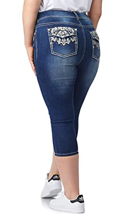 97f73ad5e4079 Amazon.com  WallFlower Women s Plus Size Bling Luscious Curvy Capri Crop   Clothing
