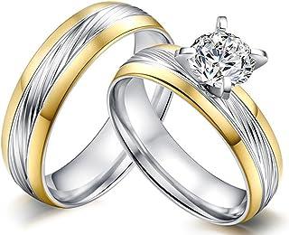 AnazoZ Alliance Homme Femme Couple Ring 2PCS Set Acier Inoxydable Two Tone Solitaire Zirconia Bague de Mariage pour Deux Amour Cœurs Plaqué Or ANADJ05JZC1504
