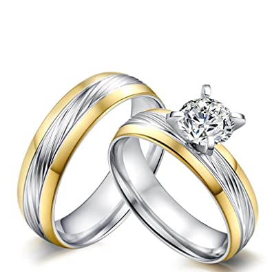 Beydodo Ring for Him and Her Stainless Steel Ring for Couples 4-prong Round CZ Size 5 & Men Size 10|Amazon.com