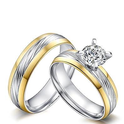 Knsam Bague Mariage Couple Couple 2pcs Set Acier Inoxydable