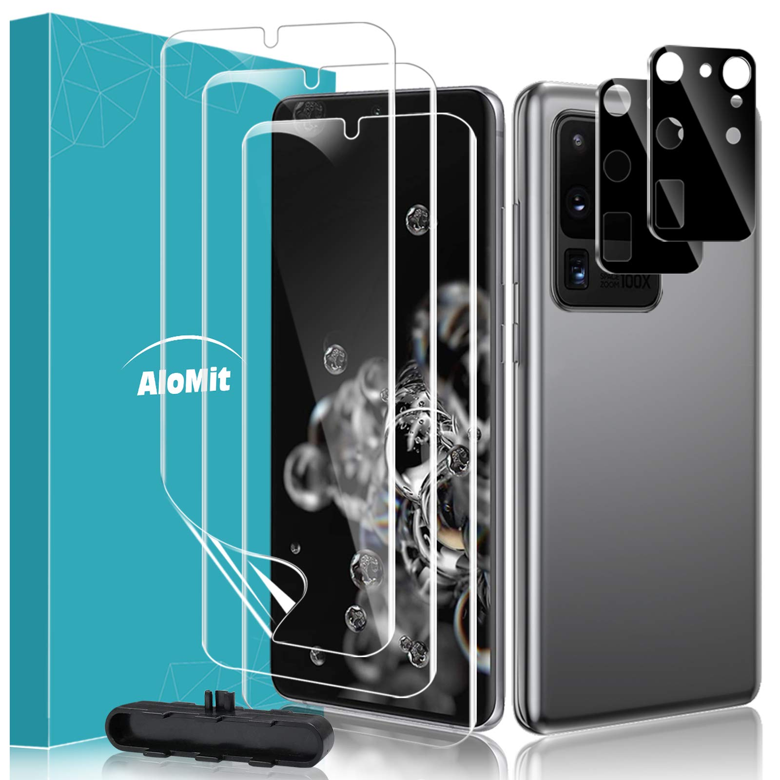 AloMit Screen Protector for Galaxy S20 Ultra with Camera Lens Protector, 3pcs Dry TPU Screen film+2 Glass Camera Protector [Support In-Display Fingerprint] for Samsung Galaxy S20 Ultra 6.9''
