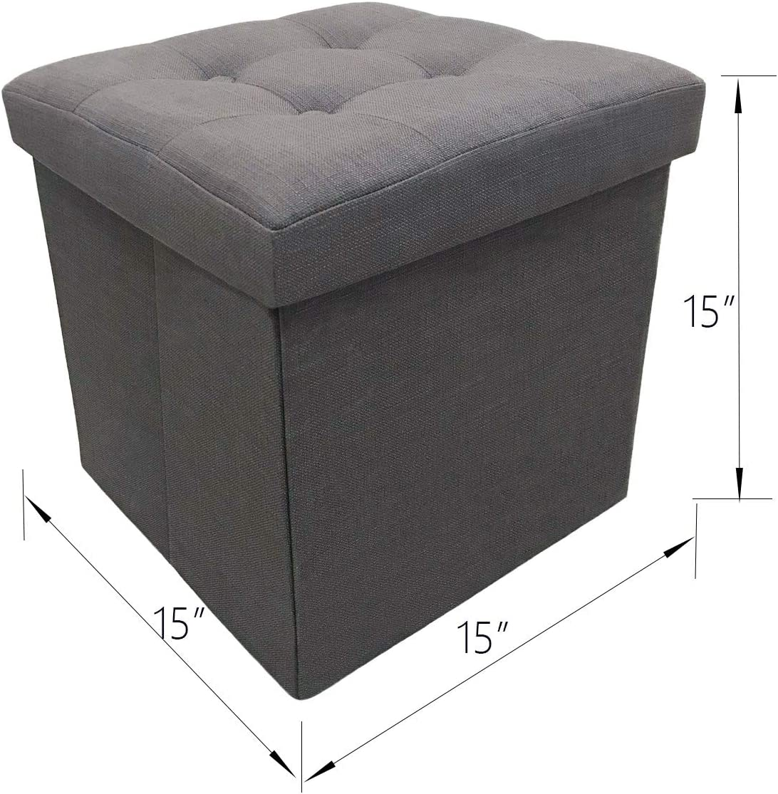 YIFONTIN Storage Ottoman Cube Foldable Foot Stool Basket Collapsible Bench Seat Footstool with Lid 15X15X15 inches for Entryway Bedside Reading Room, Linen Gray.
