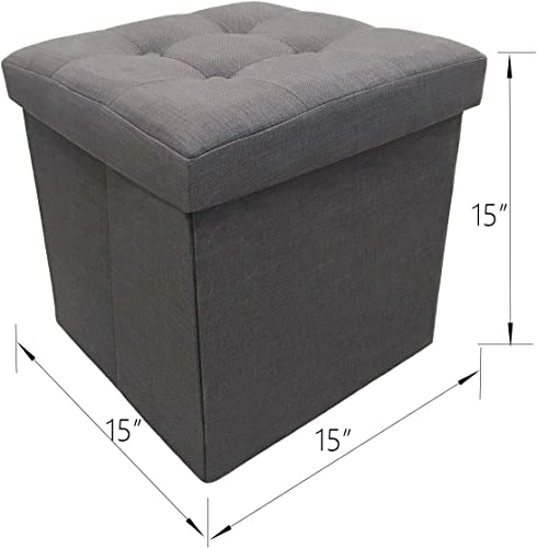 YIFONTIN Storage Ottoman Cube Foldable Foot Stool Basket Collapsible Bench Seat Footstool