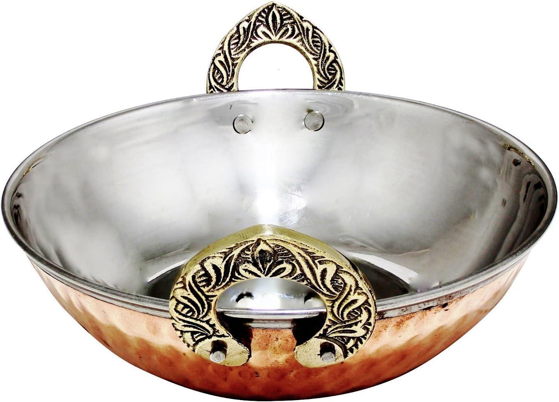 Avs Stores Set of 4, Indian Copper Serveware Karahi Vegetable Dinner Bowl with Solid Brass Handle for Indian Food, Diameter- 13 Cm