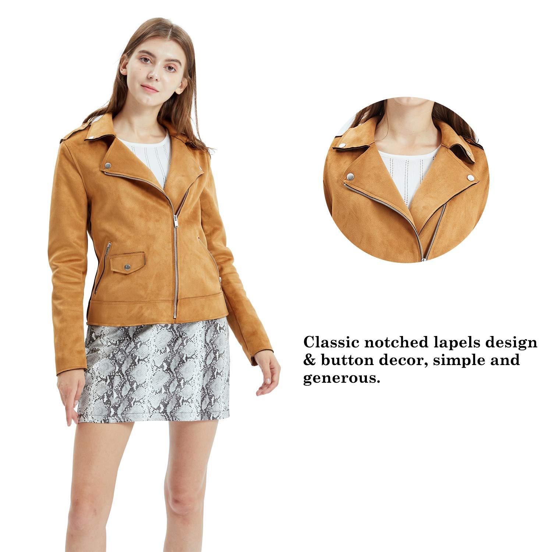Moto Biker Coat Faux Leather Casual Zip Up Soft Long Sleeve Outwear Fahsyee Womens Suede Jacket