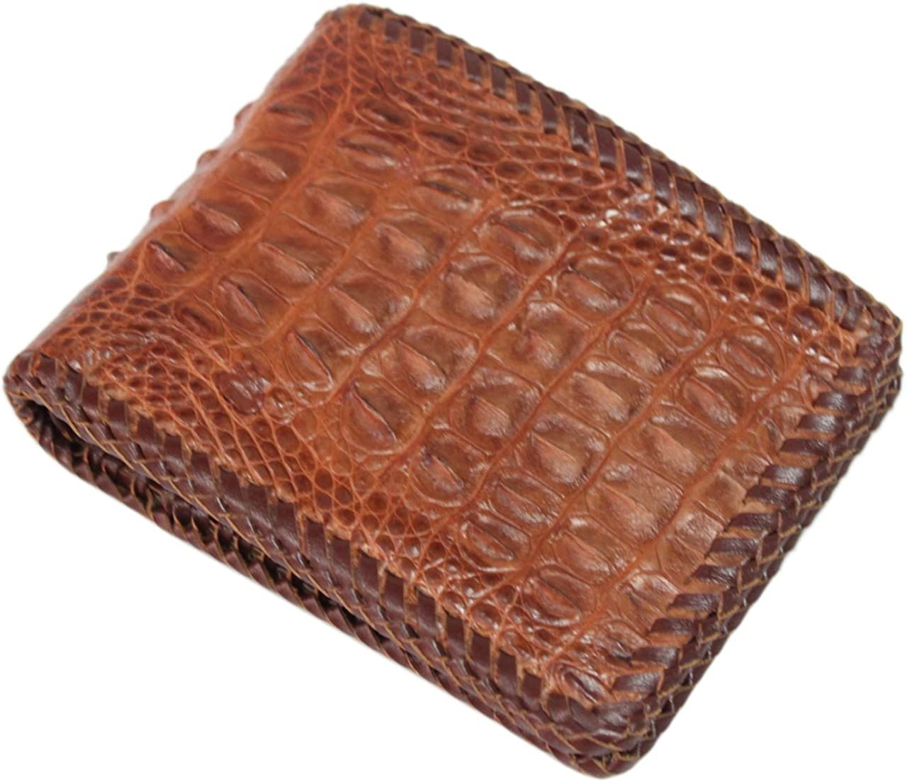 Wallet Dark Brown Man Bifold GENUINE REAL CROCODILE Alligator Head Leather Skin