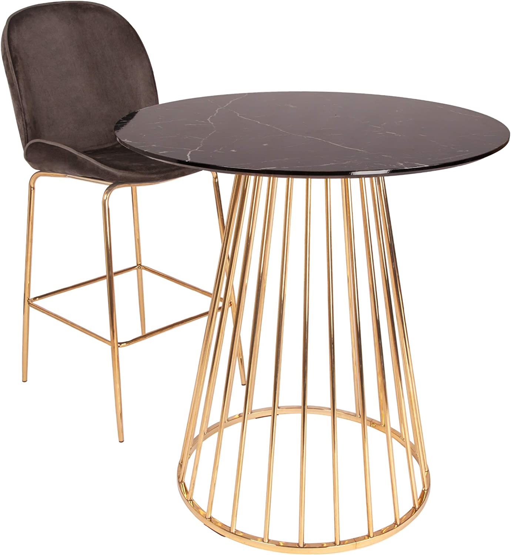 all about chairs Mesa de Comedor con Patas cromadas Doradas ...