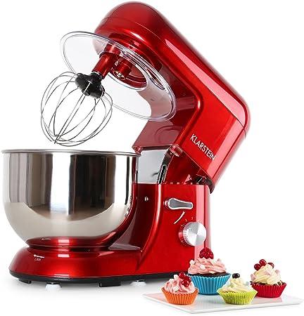 Klarstein Bella Rossa - Robot de cocina, Batidora, Amasadora, 1200 W, 5,2 litros, 1,6 PS, Batido planetario, 6 niveles de velocidad, Recipiente de acero inoxidable, Rojo: Amazon.es: Hogar