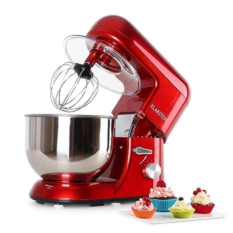 Klarstein TK1 Bella Rossa - Robot de Cocina , Batidora , Amasadora , 1200 W , 5,2 litros , 1,6 PS , Batido planetario , 6 Niveles , Recipiente Acero ...
