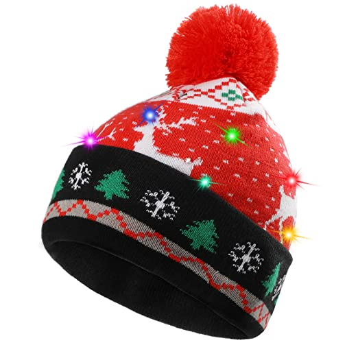 5d3260725ff9fa akiido LED Ugly Christmas Hat Novelty Light-up Colorful Stylish Beanie Cap  Knitted Sweater Xmas