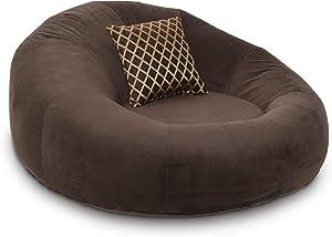 Seatcraft 1971 Bella Fabric Home Theater Seat Foam Round Lounge Cuddle Chair, Sofa, Brown