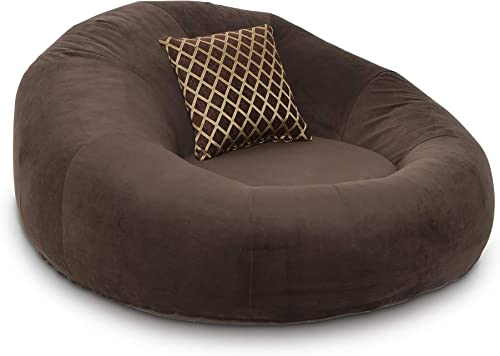 Seatcraft 1971 Bella Fabric Home Theater Seat Foam Round Lounge Cuddle Chair, Sofa, Brown