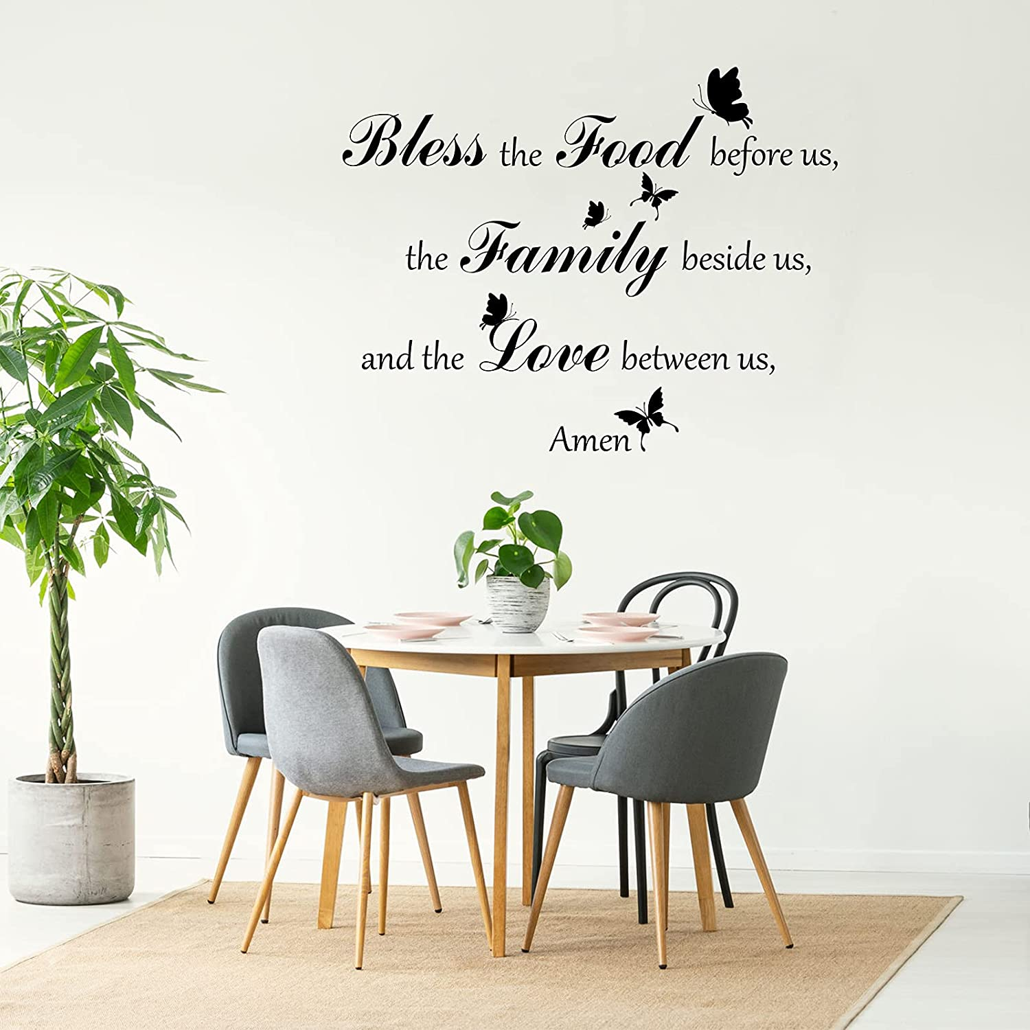 Dinner Prayer Wall Decor Lettering Vinyl Wall Decals Butterflies Bible Verse Wall Art Decors Bless The Food Before Us Wall Stickers for Living Room Kitchen Prayer Room Dining Room Home Decoration
