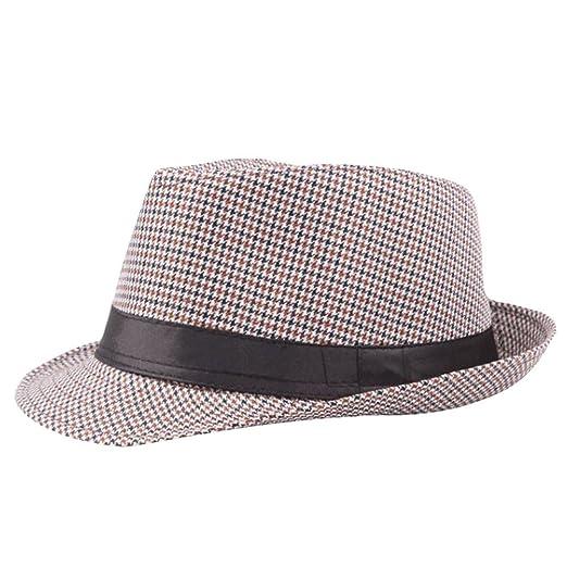f2be708af Amazon.com: YQZB Men Women Linen Fedora Summer Beach Sun Hat ...
