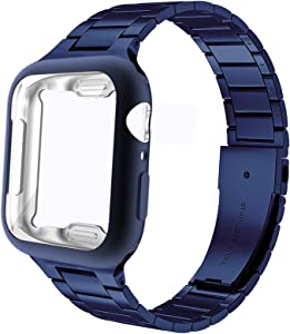 Miimall Compatible Apple Watch 44mm Band with Case Matte TPU Plated Screen Protector Case Cover Stainless Steel Replacement Bracelet Bands Strap for Apple Watch 44mm Series SE/6/5/4(Blue)