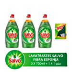 Salvo Limón Lavatrates Líquido Concentrado, 750 ml 3 Unidades y Esponja, Total 2.25 lts, Paquete de 1