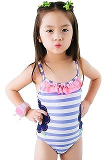 044680ba60 Meeyocc Girls Ruffle Swim Suits Kids Striped Swimming Costume Toddler Cute  One Piece Swimwear Beachwear